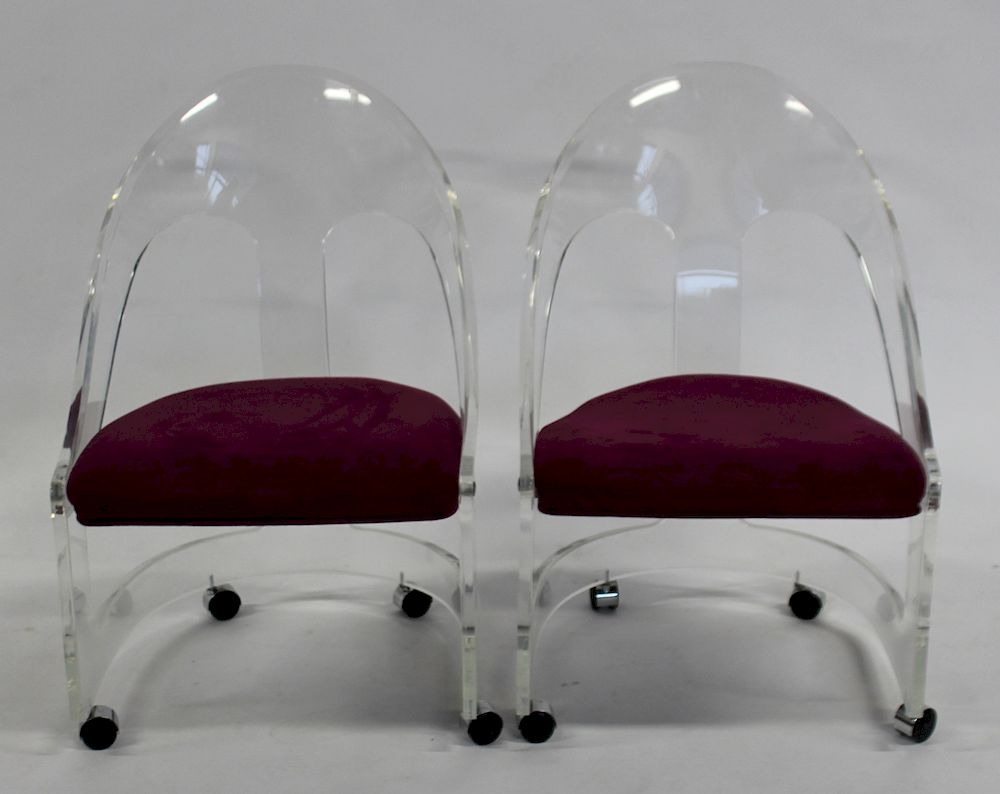 Pair Of Vintage Lucite Chairs By Clarke Auction 1294092