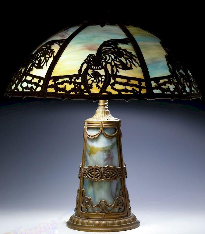 Art Nouveau Metal Overlay Slag Glass Table Lamp By Hill Auction