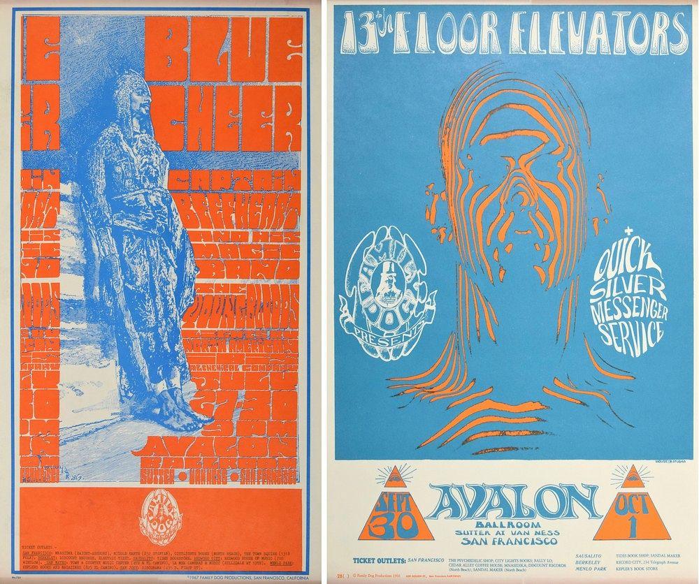 2 Family Dog/Avalon Ballroom Concert Posters by Palm Beach