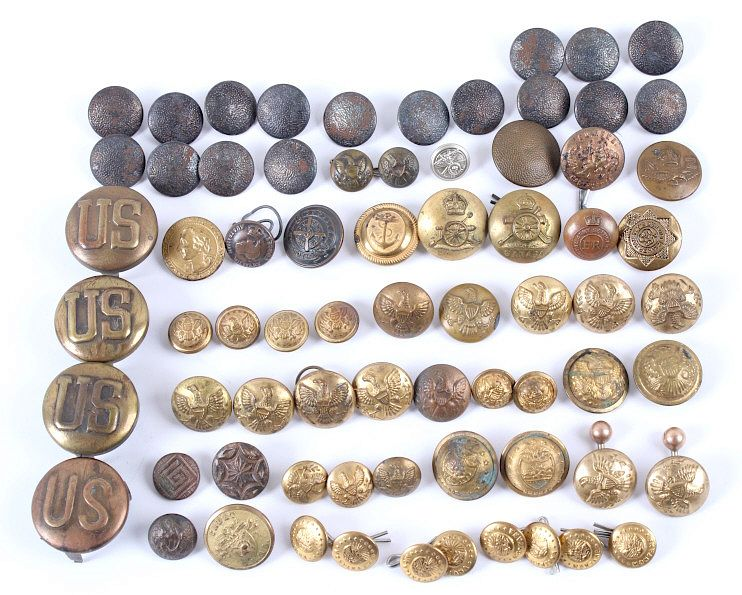 Assorted Military Brass and Iron Uniform Buttons by North