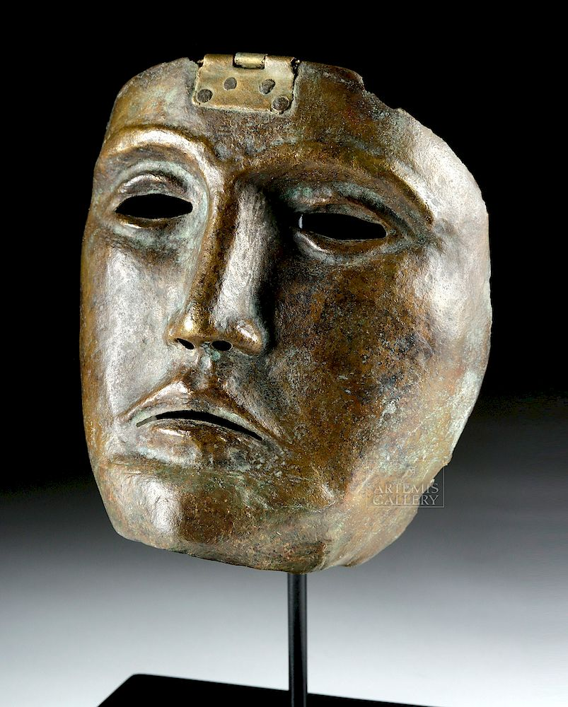 Rare Roman Bronze Parade Mask of a Cavalry Officer