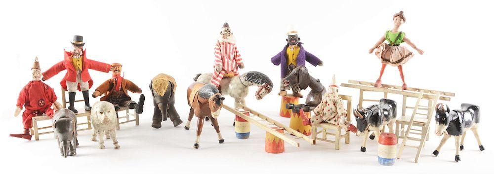 Nice Lot Of Early Schoenhut Humpty Dumpty Circus Figure Set In