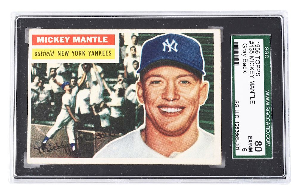 1956 Topps Mickey Mantle Gray Back Baseball Card By Morphy