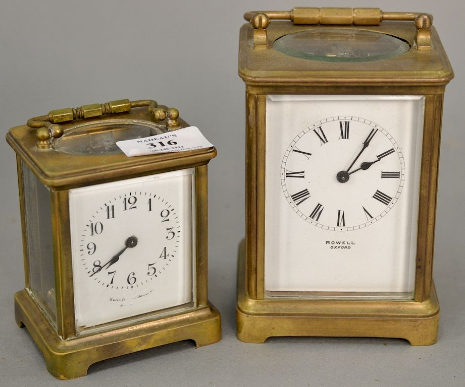 Two Carriage Clocks Rowell Oxford And Bailey Banks Biddle Both Brass And Glass With White Enameled Face Ht 4 In 5 1 2 In By Nadeau S Auction Gallery 1322754 Bidsquare