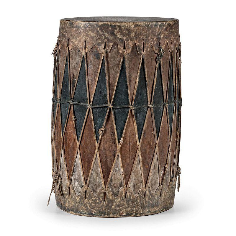 Pueblo Polychrome Drum From The Harriet And Seymour Koenig