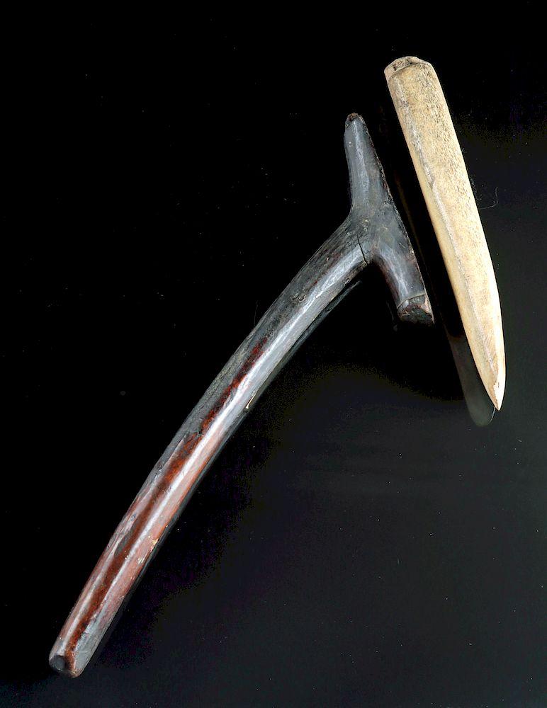 Ancient Inuit Aleut Wooden Adze Bone Blade By Artemis Gallery 1351219 Bidsquare