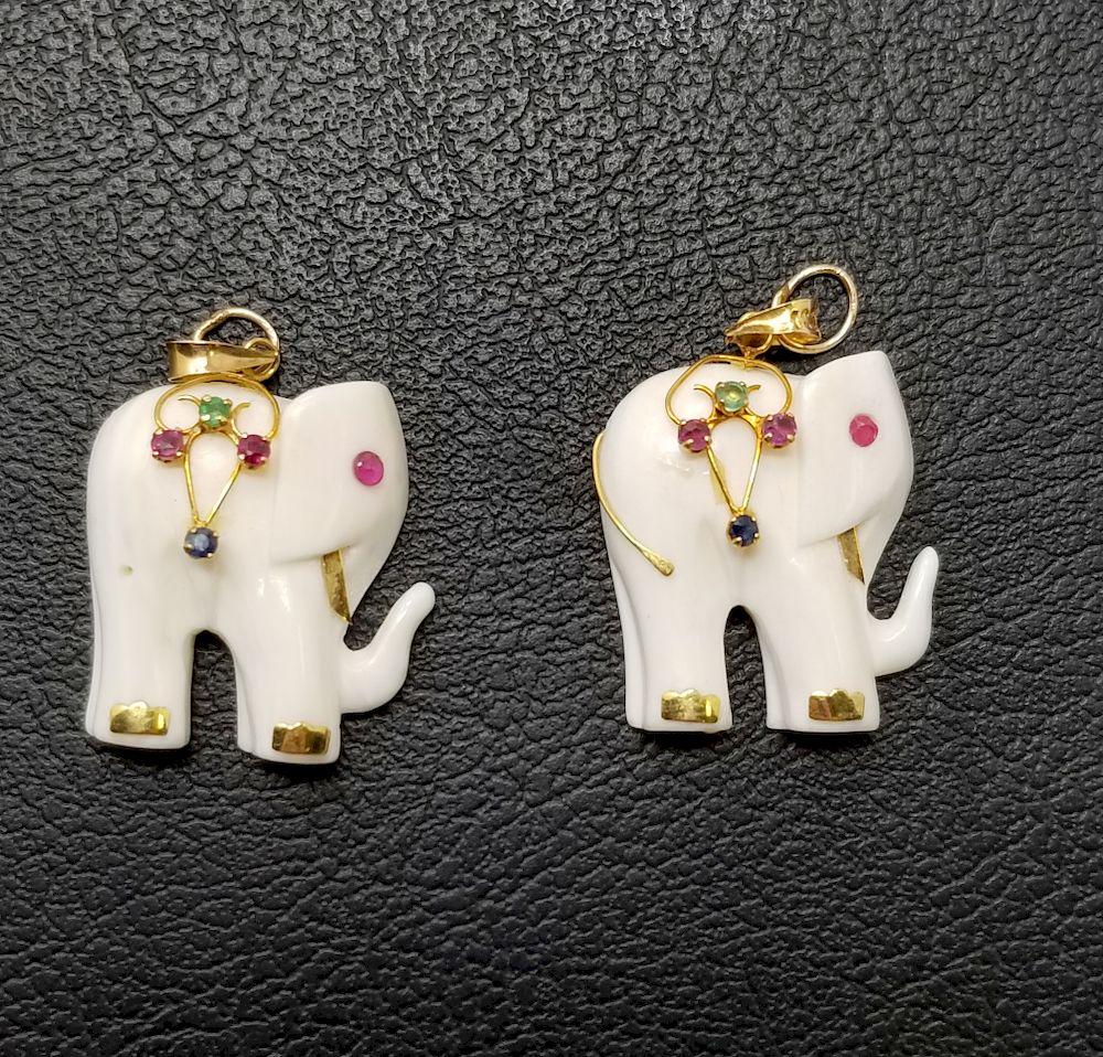 2 Carved Bone Elephant Precious Stone Pendants By Helmuth Stone Gallery 1355313 Bidsquare
