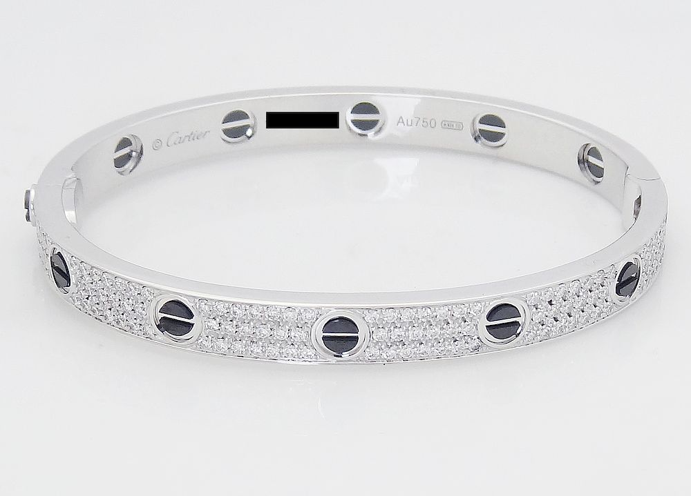 9d605cb7e6336 Cartier 18k Black Ceramic Diamond Paved Love Bracelet by Allure ...