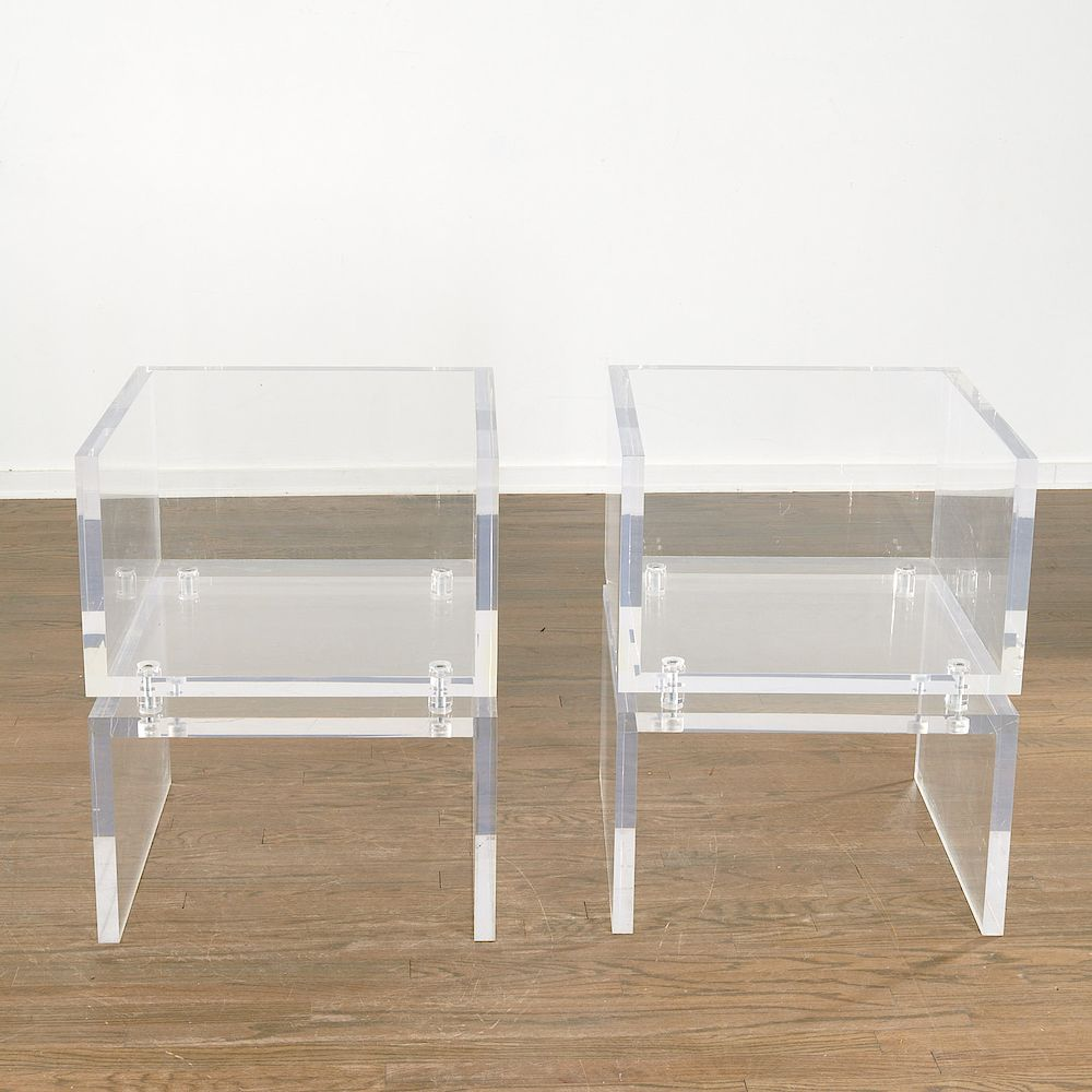 Pair high quality Designer lucite chairs by Millea Bros  Ltd