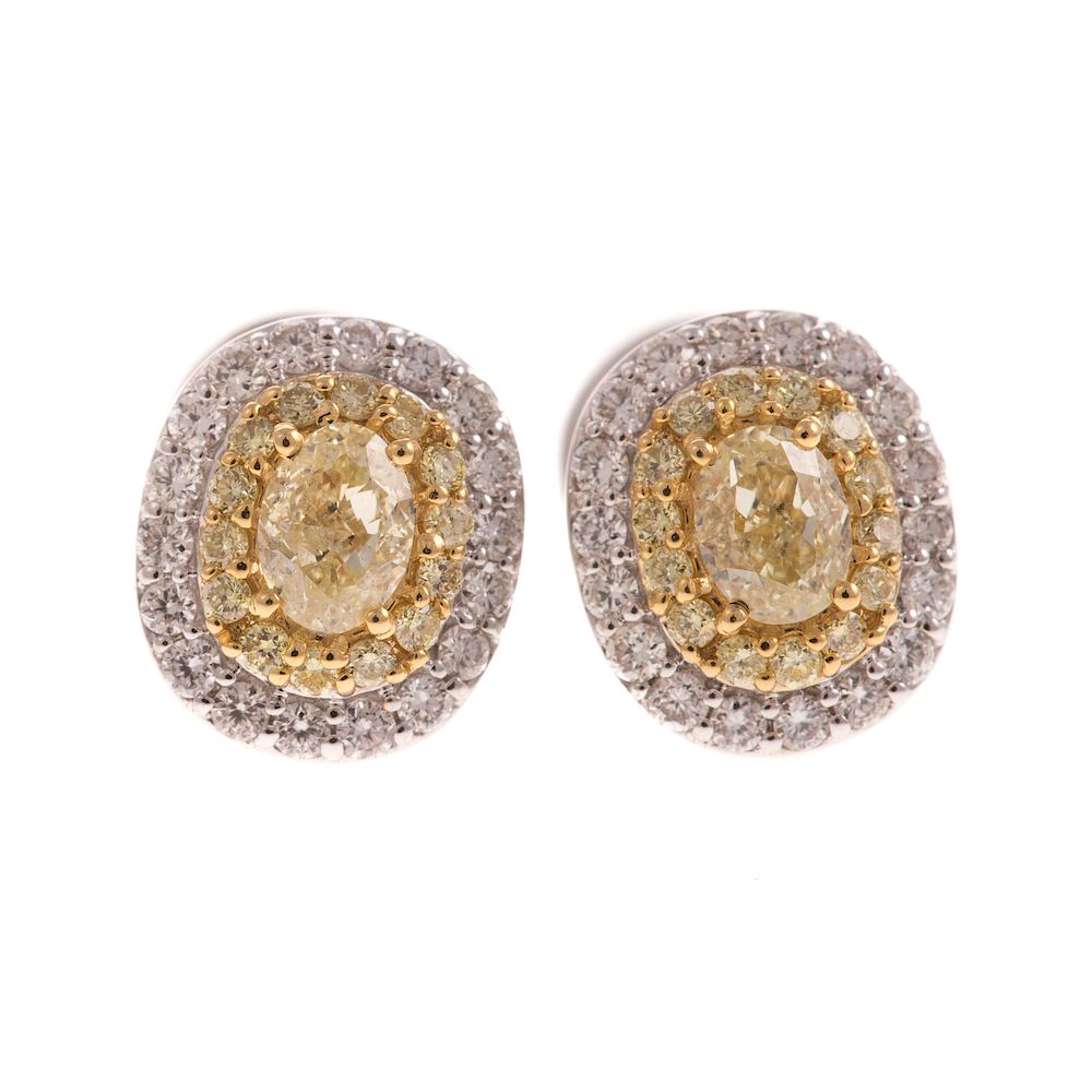 518f228e082f6 A Pair of Yellow & White Diamond Earrings in 18K by Alex Cooper ...