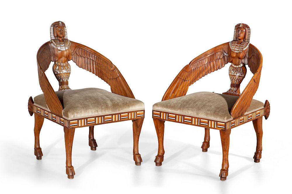 Astonishing A Pair Of Egyptian Revival Armchairs By Andrew Jones Short Links Chair Design For Home Short Linksinfo