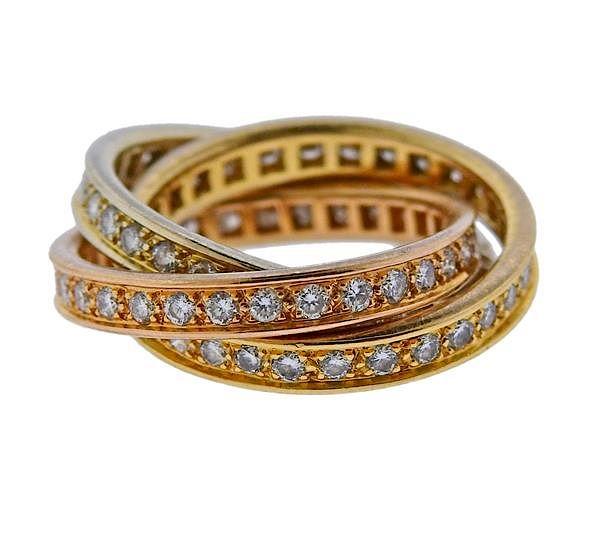 e87cd0c4f1c23 Cartier Trinity 18K Tri Color Gold Diamond Ring by Hampton Estate ...