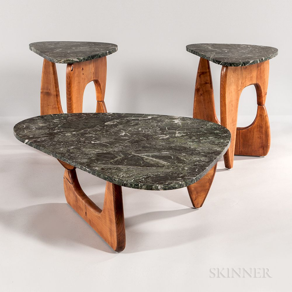 Noguchi Style Marble Top Coffee Table And Two Side Tables For Sale At Auction On 20th June Bidsquare