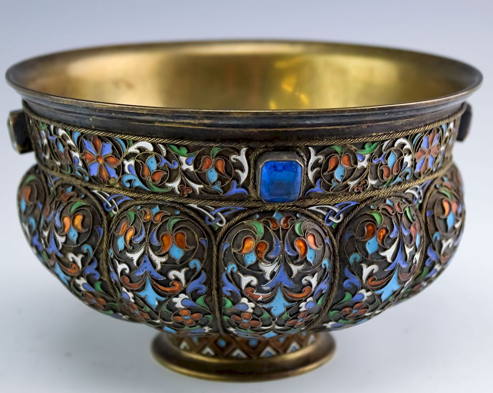 Russian 88 Silver 19th Century Enamel Jeweled Bowl by Hill