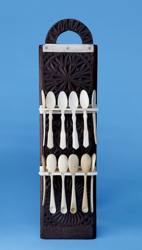 Walrus Ivory And Carved Oak Hanging Spoon Rack With 12 Assembled Bone Spoons By Rafael Osona Auctions 1437352 Bidsquare