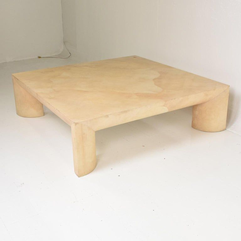 Mid Century Modern Goatskin Coffee Table Style Of Karl Springer