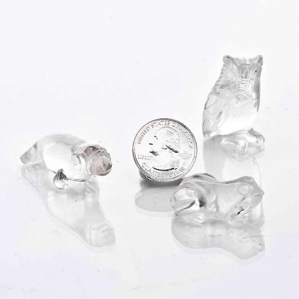 3 GLASS MINIATURE ANIMAL FIGURINES by Whitley'