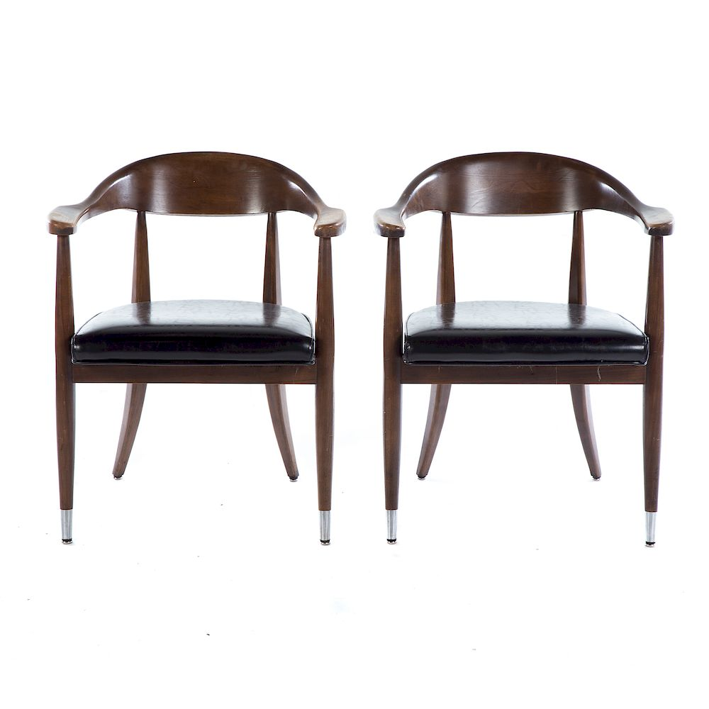 Astounding Pair Mid Century Modern Walnut Arm Chairs By Alex Cooper Ncnpc Chair Design For Home Ncnpcorg