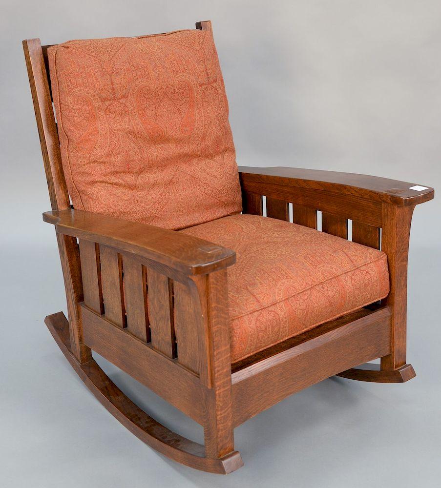 Wondrous L Jg Stickley Mission Oak Rocker Ht 40 Wd 32 1 2 In Creativecarmelina Interior Chair Design Creativecarmelinacom