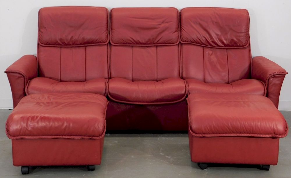 Stressless Red Leather Reclining Sofa And Ottomans By Bruneau Co