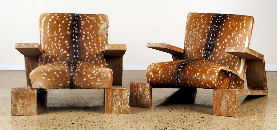 Pair Lounge Chairs Manner Of Jean Michel Frank