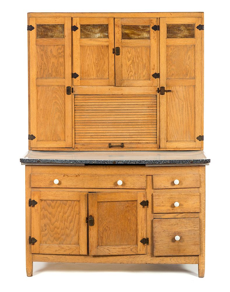 Oak Caramel Slag Glass Kitchen Cabinet by Ross Auction ...