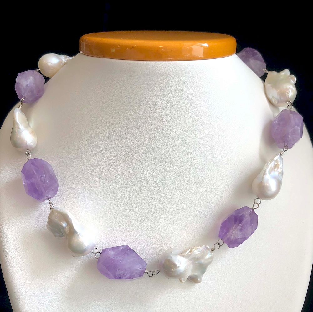 Amethyst stone carved necklace on baroque pearl