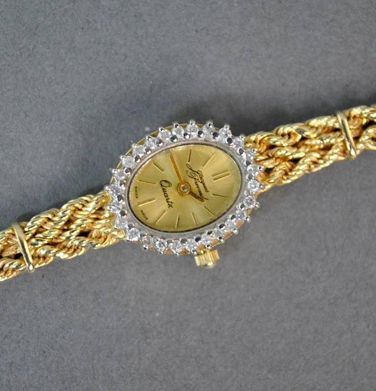 Jacques Prevard Gold Diamond Bracelet Watch By Leighton Galleries Llc Bidsquare
