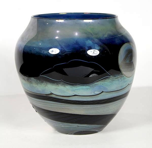 John Lewis Art Glass Blown Vase Having A Tapered Form From The