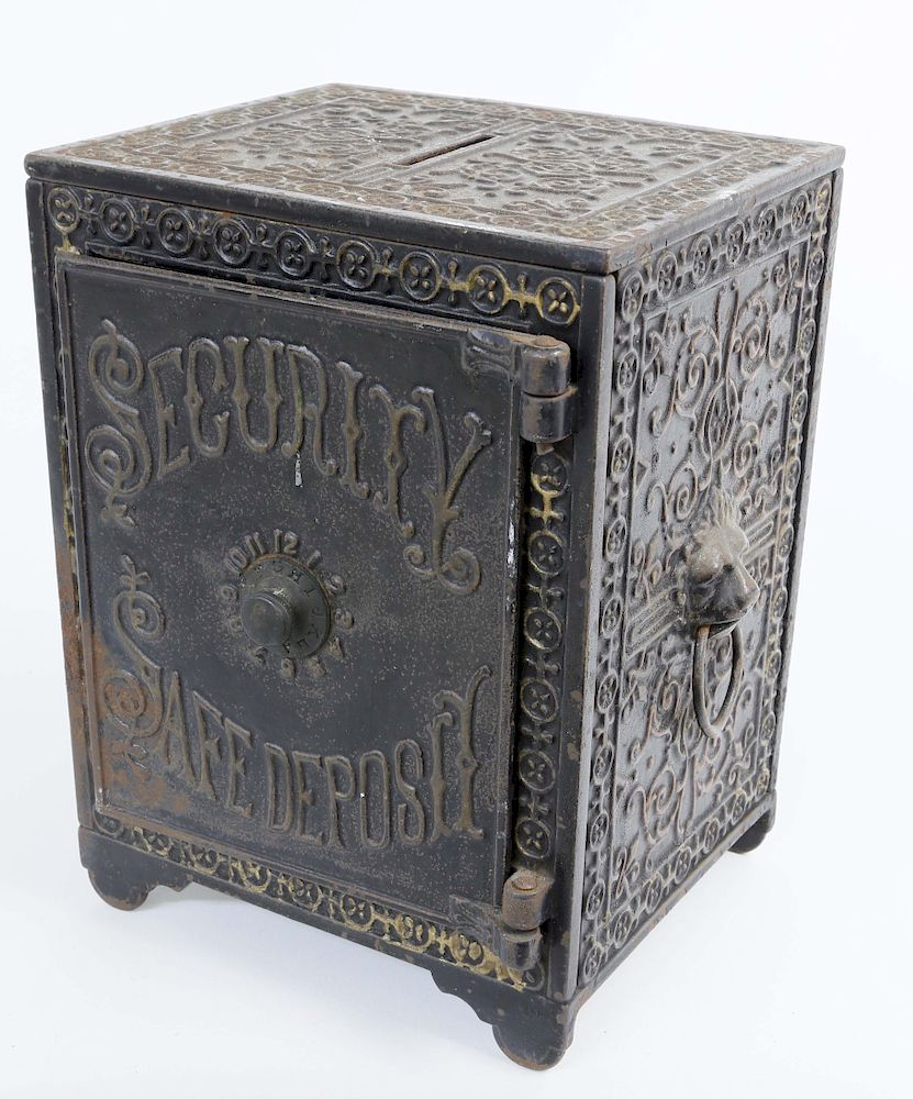 Antique Cast Iron Safe Still Bank With