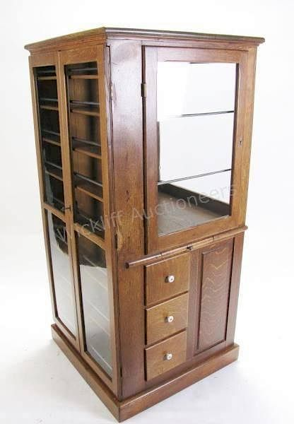 Indiana Antique Golden Oak Dentist Cabinet By Wickliff Auctioneers