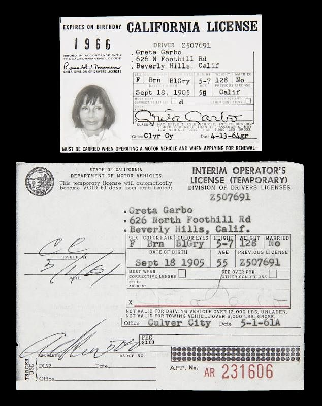 GRETA GARBO CALIFORNIA DRIVER LICENSE DOCUMENTS sold at auction on 27th  June | BidsquareBidsquare