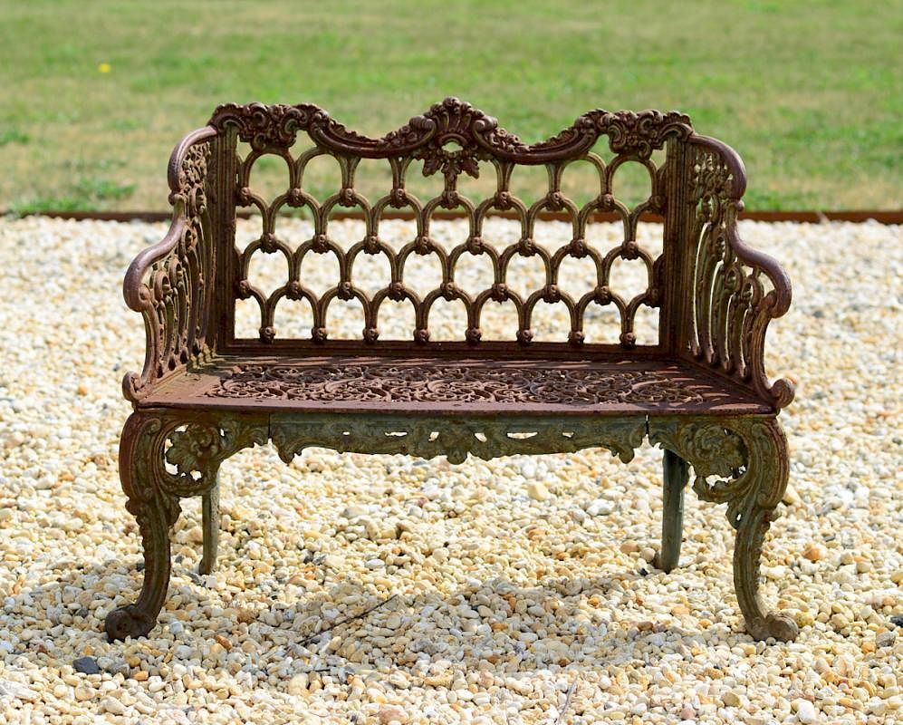 Amazing Small Painted Cast Iron Rose Garden Bench Kramer Bros Andrewgaddart Wooden Chair Designs For Living Room Andrewgaddartcom