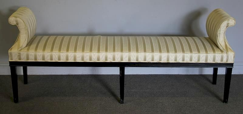 Phenomenal Lacquered And Upholstered Roll Arm Window Bench By Clarke Cjindustries Chair Design For Home Cjindustriesco