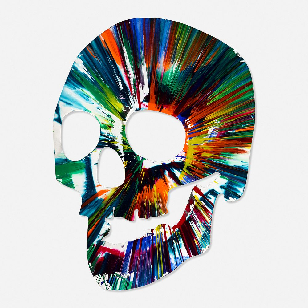 Damien Hirst Signed Skull Spin Painting By Rago 1786312 Bidsquare