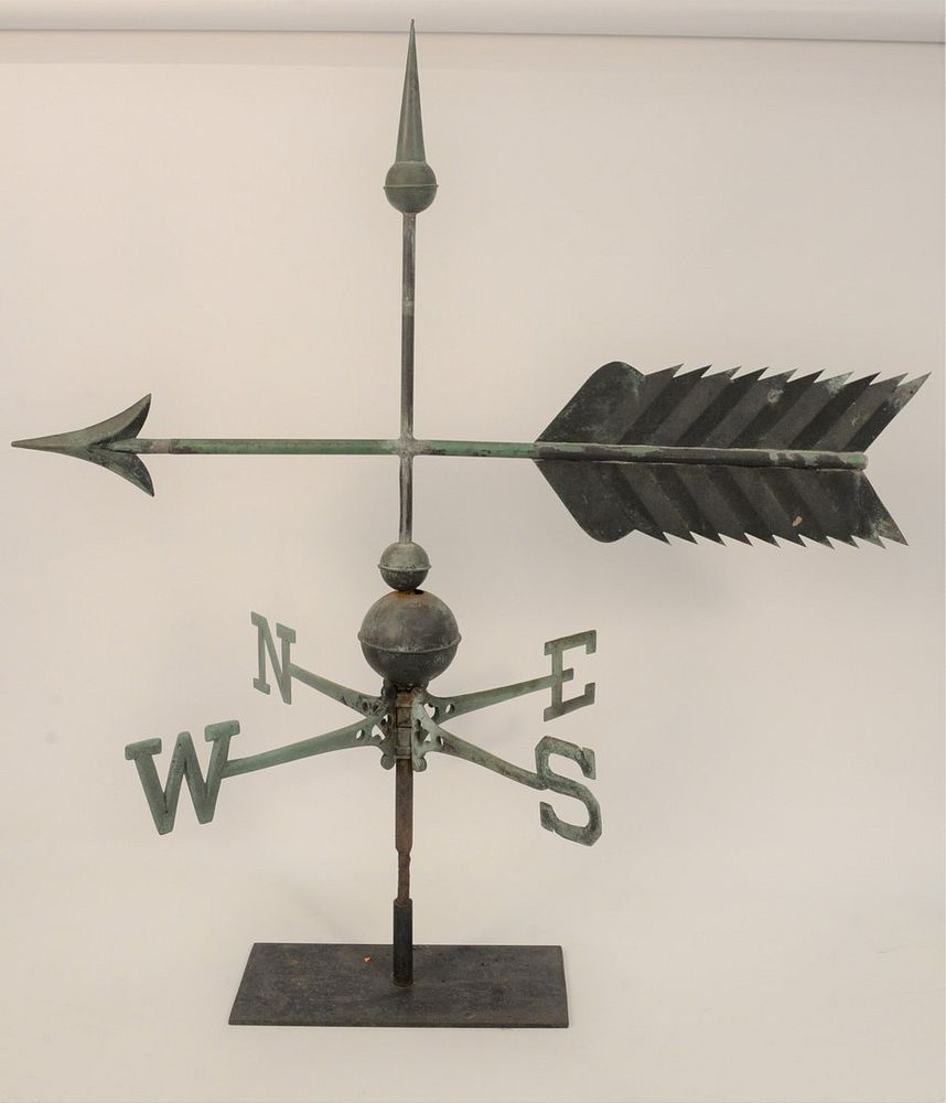 Arrow Copper Weathervane With Zinc Tip And Directionals On Stand Total Height 39 1 2 Inches Length 37 Inches Provenance From Th Sold At Auction On 24th October Bidsquare Add to wish list compare. bidsquare
