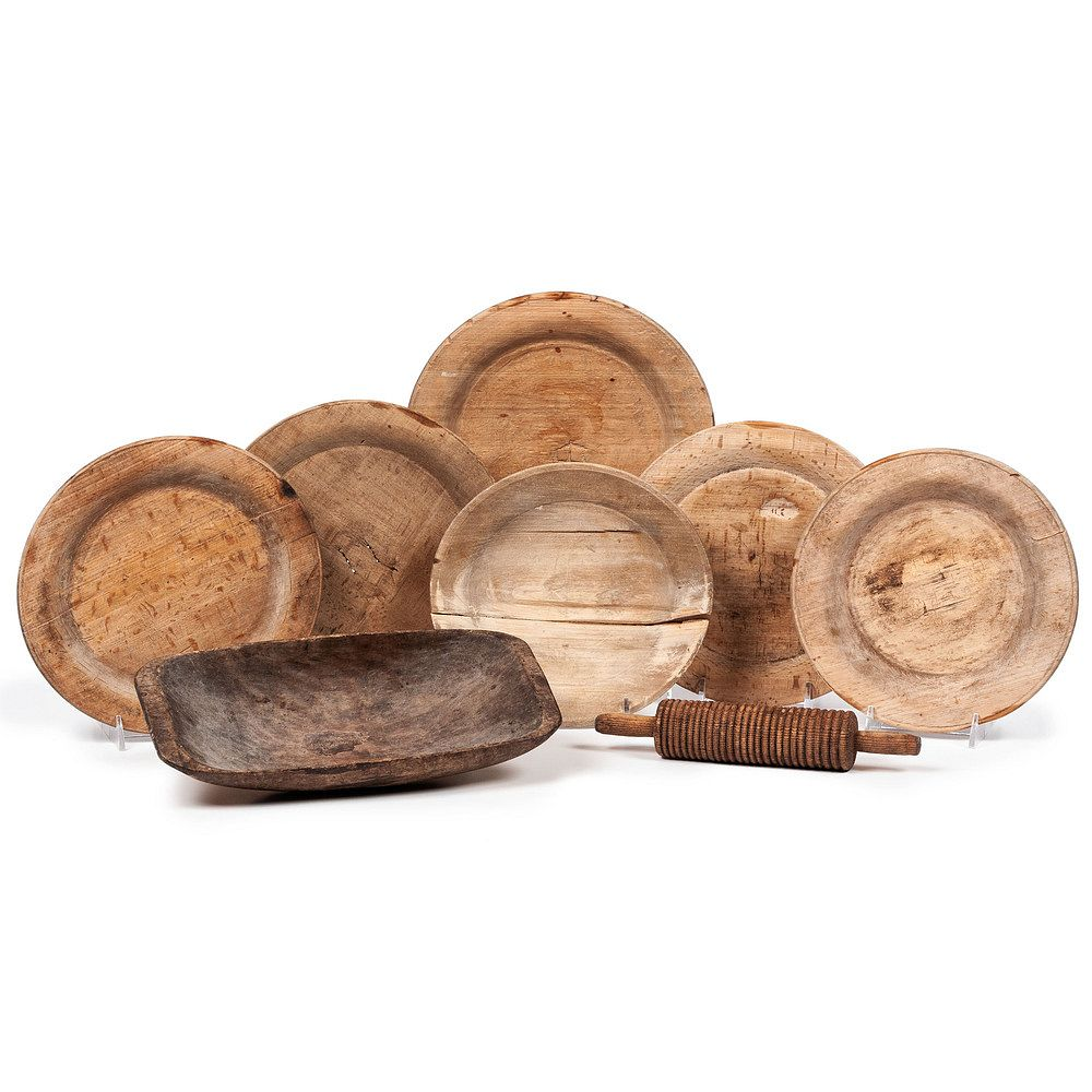Six Wooden Plates A Lefse Rolling Pin And Trencher For Sale At Auction On 10th March Bidsquare