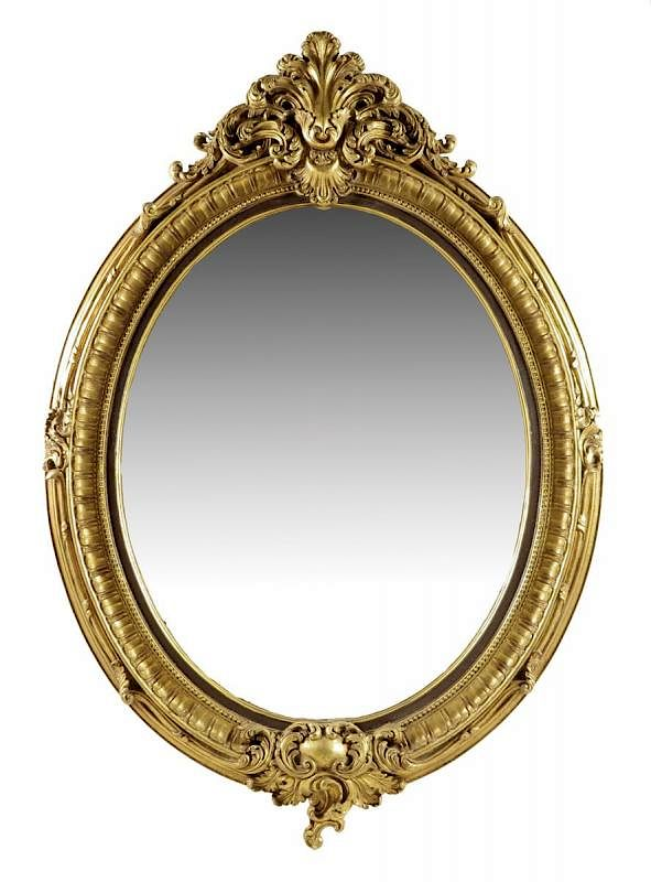 An Oval Gilt Wall Mirror In Victorian Style With A Bevelled Plate