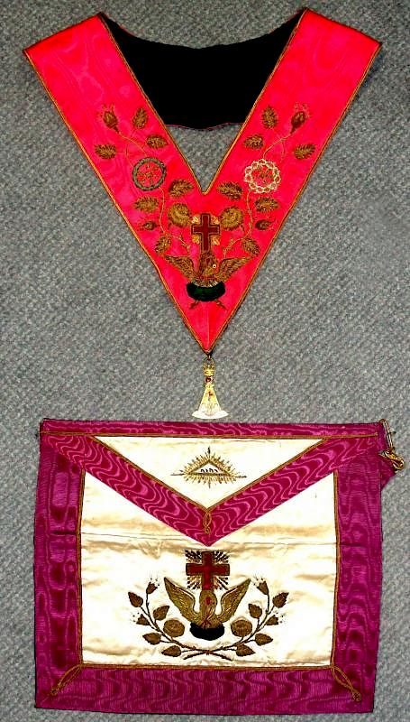 A Rose Croix Masonic apron and collar, heavily embroidered