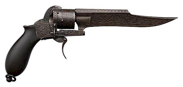 Etched Pinfire Knife Pistol by Dumonthier by Cowan's
