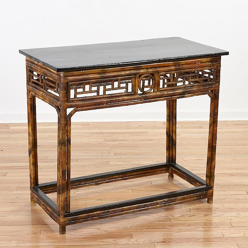 Chinese Export Style Bamboo Console Table By Millea Bros. Ltd. | Bidsquare