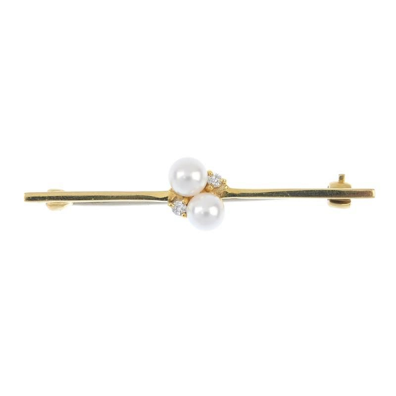 Two Gold Brooches To Include An 18ct Gold Cultured Pearl And Single Cut Diamond Bar Brooch Togethe By Fellows 357190 Bidsquare
