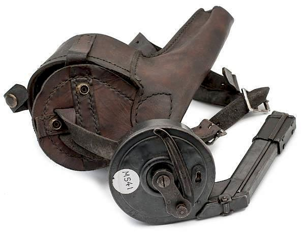 WWI German Luger Snail Drum Magazine and Leather Carrier by