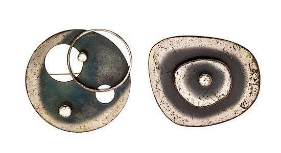 SALE ~ Nita Lustig Mid-Century Sterling Brooch and Earring Set ~ RARE